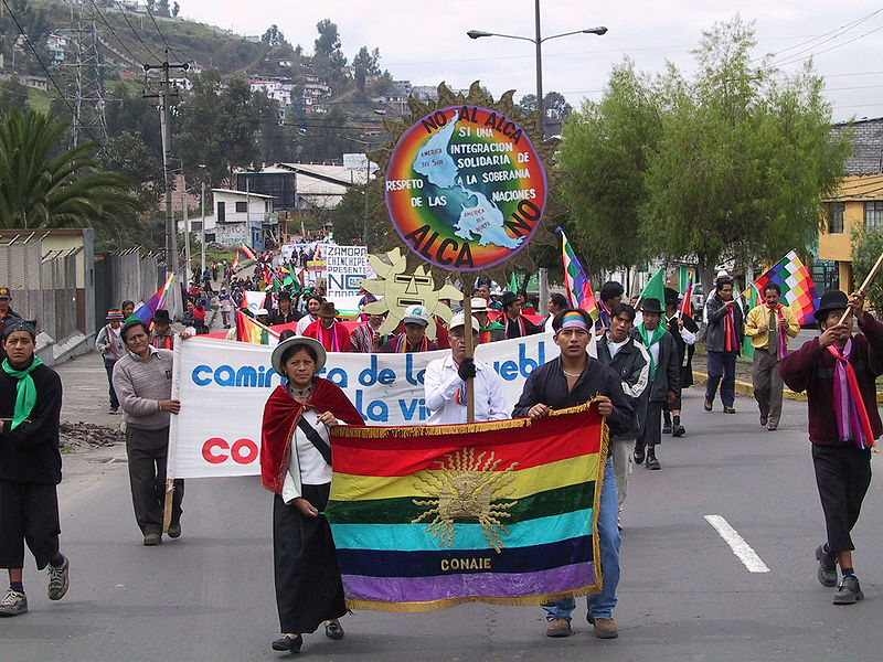 800px-Quito_March_Bandera_CONAIE_2.JPG